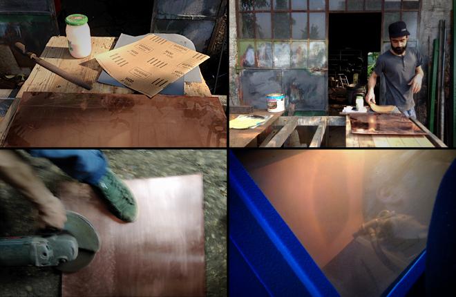 Making of della fase di 'strisciatura' ad arte del rame