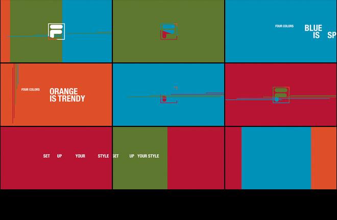 Fila - storyboard copertine di sezione con grafica animata