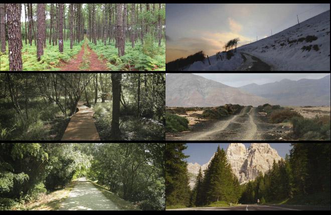 Alcuni frame della veloce sequenza di paesaggi e strade.